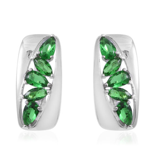 ELANZA Simulated Emerald (Pear and Mrq) Earrings (with Clasp Lock) in Rhodium Overlay Sterling Silve
