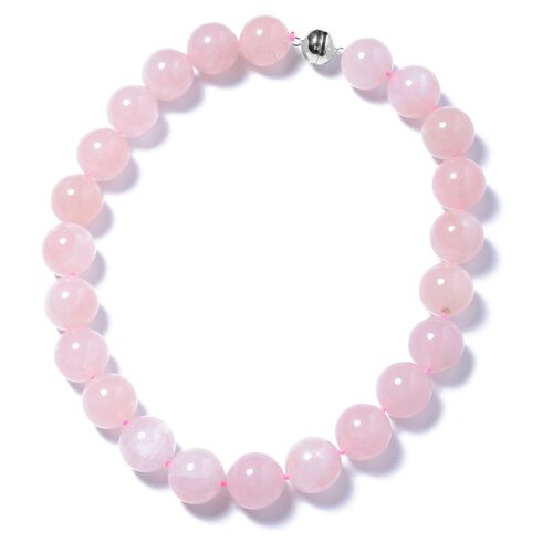 Extremely Rare Size Galilea Rose Quartz (Rnd 19-21mm) Necklace (Size 20) with Magnetic Clasp in Rhod