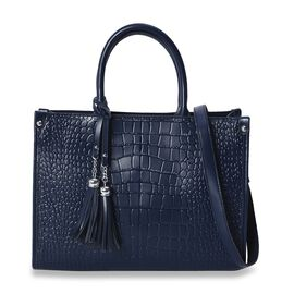 100% Genuine Leather Croc Embossed Tote Bag with Detachable Shoulder Strap (Size 34x14x25 Cm) - Navy