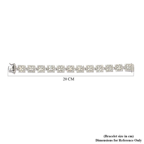 J Francis Platinum Overlay Sterling Silver Bracelet (Size 7.5) made with SWAROVSKI ZIRCONIA 28.83 Ct, Silver wt. 25.00 Gms