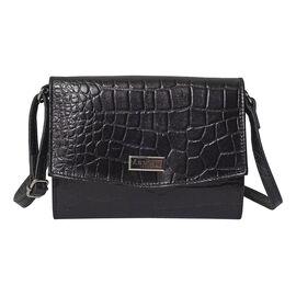 ASSOTS LONDON Matilda Genuine Pebble Grain Leather Hobo Shoulder Bag - Black