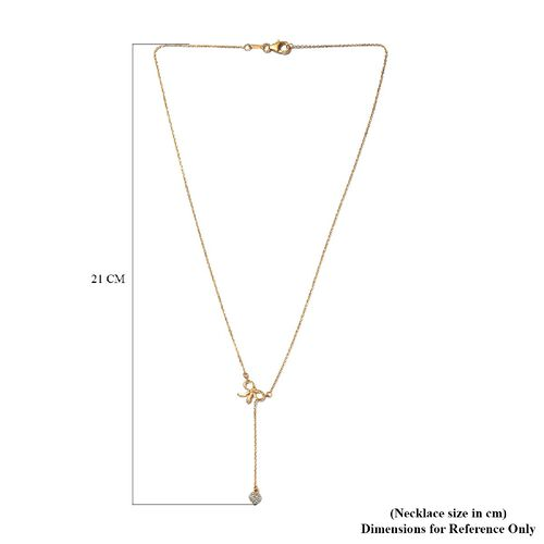 White Diamond Lariat Necklace in 14K Gold Overlay Sterling Silver