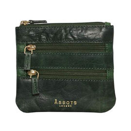 Assots London LAURA Soft Small Zip Top Leather Coin Purse (Size 11x10cm) - Green
