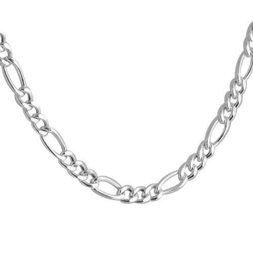 Made In Italy- Special Edition- Sterling Silver Figaro Necklace (Size 18), Silver wt 5.44 Gms