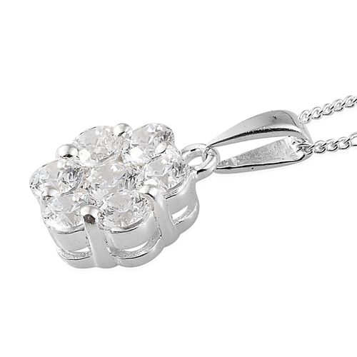 J Francis - Pressure Set Pendant (with Chain) in Sterling Silver Made with SWAROVSKI ZIRCONIA