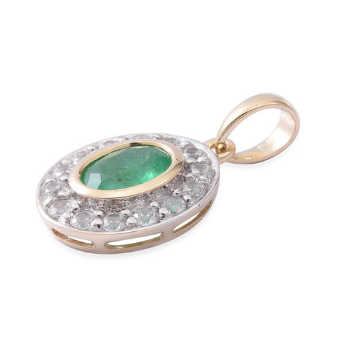 9K Y Gold AAA Kagem Zambian Emerald (Ovl 7x5mm ), Natural Cambodian White Zircon Pendant 1.480 Ct.