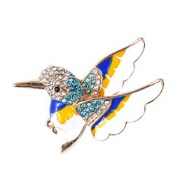 Multi Colour Austrian Crystal Hummingbird Brooch in Gold Tone with Enameled