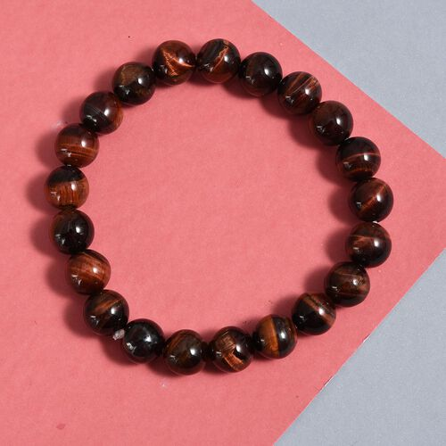 One Time Deal- Red Tiger Eye Stretchable Beads Bracelet (Size 7.5) 149.04 Ct.