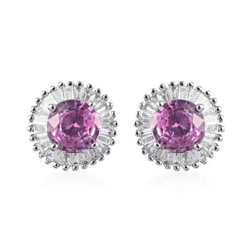 RHAPSODY 950 Platinum AAAA Madagascar Pink Sapphire and Diamond (VS/E-F) Stud Earrings (with Screw B