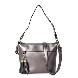100% Genuine Leather Crossbody Bag with Detachable Strap and External Zipper Pocket (Size 23x7.5x20