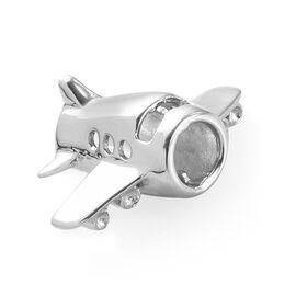Charmes De Memoire - Platinum Overlay Sterling Silver Plane Charm
