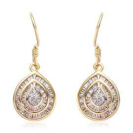 9K Yellow Gold Natural Diamond (I3/G-H) Hook Earrings 0.50 Ct.