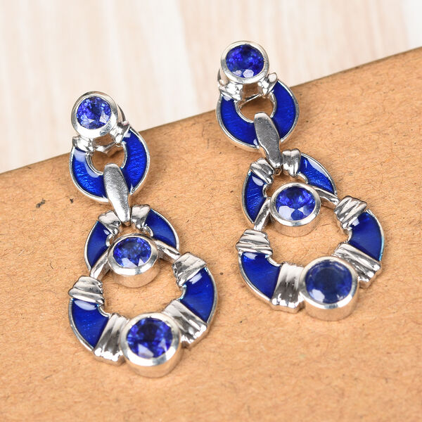 Masoala Sapphire Earrings (with Push Back) in Platinum Overlay Sterling Silver 3.00 Ct, Silver wt 6.59 Gms