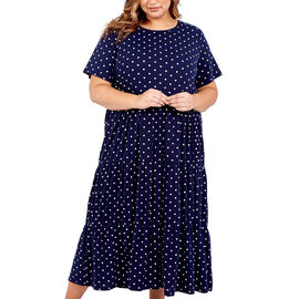 NOVA OF LONDON Tiered Smock Dress - Navy