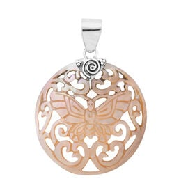 Royal Bali Light Gold Shell Butterfly Pendant in Sterling Silver