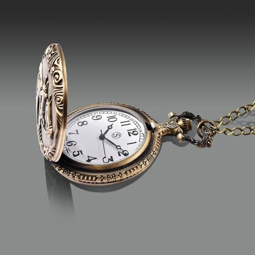 STRADA Japanese Movement Three-Horse Pattern Pocket Watch with Chain (Size 31) in Antique Bronze Tone