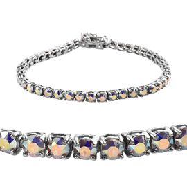 J Francis - Crystal from Swarovski AB Crystal (Rnd) Bracelet (Size 7.5) in Platinum Plated