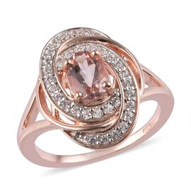 1.05 Ct Marropino Morganite and Zircon Swirl Ring in Rose Gold Plated Sterling Silver