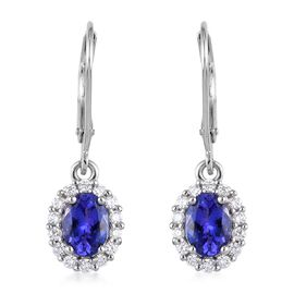 RHAPSODY 950 Platinum AAAA Tanzanite and Diamond (VS/E-F) Lever Back Earrings 1.75 Ct.