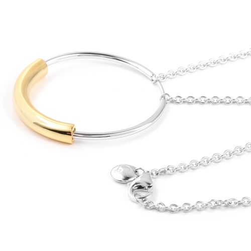 RACHEL GALLEY Bi Colour Rhodium and Gold Overlay Sterling Silver Cerchio Necklace (Size 20) Silver Wt 14.31 Gms