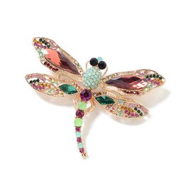 Simulated Garnet (Pear), Multi Colour Austrian Crystal Dragonfly Brooch in Yellow Gold Tone