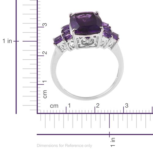 Amethyst (Cush) Ring in Platinum Overlay Sterling Silver 7.500 Ct.