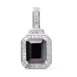 1.60 Ct Elite Shungite and Zircon Halo Pendant in Platinum Plated Sterling Silver