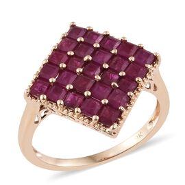 Designer Inspired 3.75 Ct AAA Burmese Ruby Cluster Ring in 9K Gold