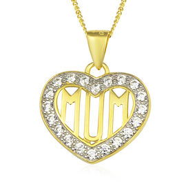 Swarovski Cubic Zirconia Mum Heart Pendant with Chain in Gold Plated Sterling Silver 18 Inch