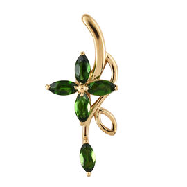 Russian Diopside (Mrq), Floral Pendant in 14K Gold Overlay Sterling Silver 1.000 Ct.