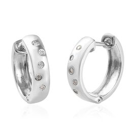 Diamond FLUSH Set Hoop Earrings with Clasp in Platinum Plated Silver