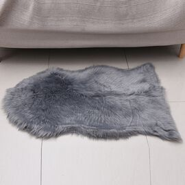 Premium Faux Sheep Skin Rug (Size 60x100 Cm) - Light Grey
