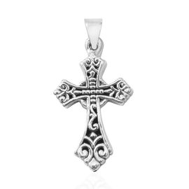 Close Out Deal- Rhodium Overlay Sterling Silver Cross Pendant, Silver wt 3.17 Gms.