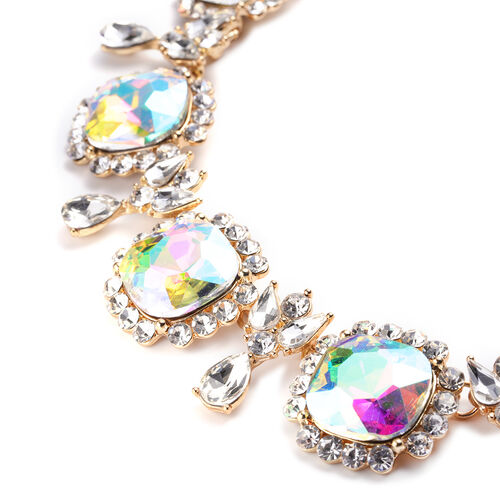 2 Piece Set - Simulated Rainbow Moonstone, Simulated Diamond and White Austrian Crystal Stud Earrings and Adjustable Necklace (Size 18-22) in Gold Tone