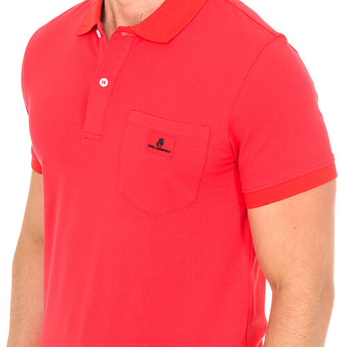 Karl Lagerfeld - Mens Basic Polo Short Sleeve - Red Size S