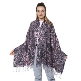 Close Out Deal- Reversible Pink Leopard and Pink/Blue Snake Pattern Shawl with Tassels (Size 180x70+