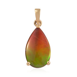 4.25 Ct AA Canadian Ammolite Solitaire Teardrop Pendant in 14K Gold Plated Sterling Silver