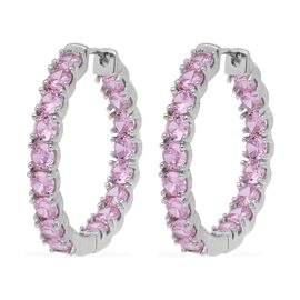 Simulated Pink Sapphire Inside Out Hoop Earrings in Silver Plated