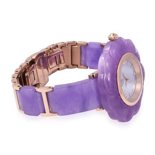EON 1962 Purple Jade MOP Swiss Movement Water Resistant Watch.Total Ct Wt 116 Cts