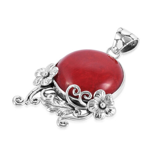 Royal Bali Collection Coral (Rnd) Flower Pendant in Sterling Silver 8.000 Ct.