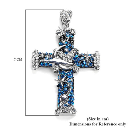 Dark Blue and Whte Austrian Crystal Enamelled Cross Pendant With Chain in Stainless Steel