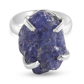 Tanzanite Ring in Platinum Overlay Sterling Silver 15.00 Ct.