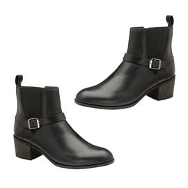 Ravel Kingsley Gusset Ankle Boot with Buckled Strap - Black