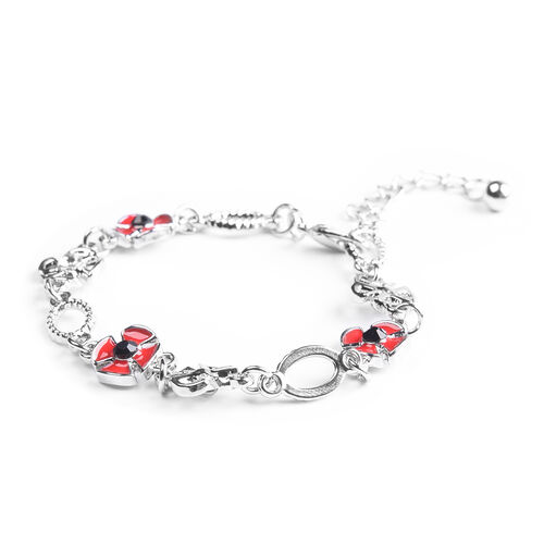 TJC Poppy Design - Black and White Austrian Crystal Enamelled Bracelet (Size 8.5 with Extender) in Silver Tone