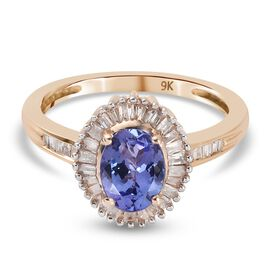 Monster Deal- 9K Yellow Gold Tanzanite  (1ct Tanzanite) and Diamond Halo Ring 1.25 Ct.