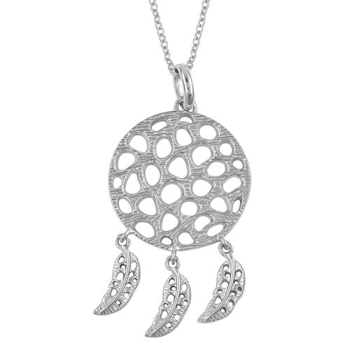 RACHEL GALLEY Rhodium Plated Sterling Silver Lattice Pendant with Chain (Size 30), Silver wt 10.06 Gms.