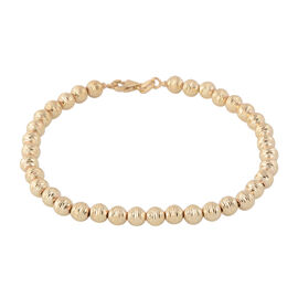 Made in Italy 9K Yellow Gold Diamond Cut Beads Bracelet (Size 7.5), Gold wt 4.42 Gms.