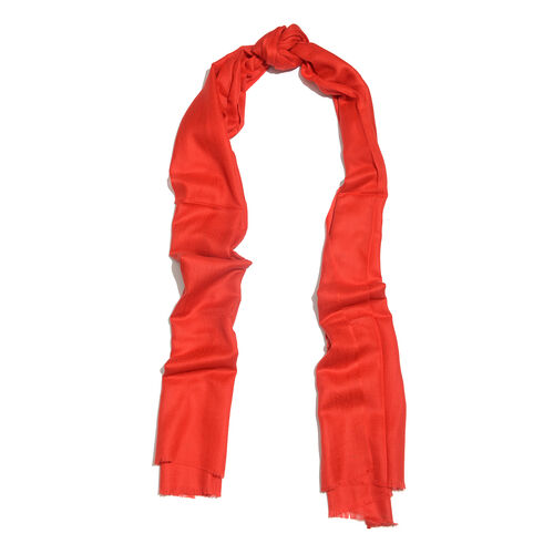 100% Cashmere Wool Red Colour Shawl with Fringes (Size 200X70 Cm)