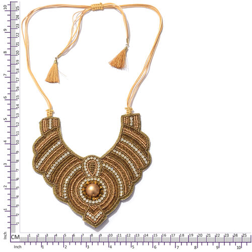 Statement Collection-  Golden Colour Beads Adjustable Necklace (Size 16 to 24)