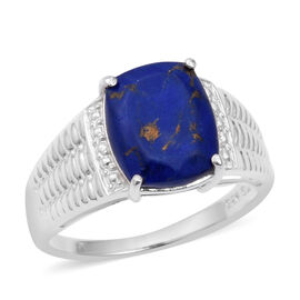 Mojave Blue Turquoise (Cush) Solitaire Ring in Sterling Silver 3.720 Ct.